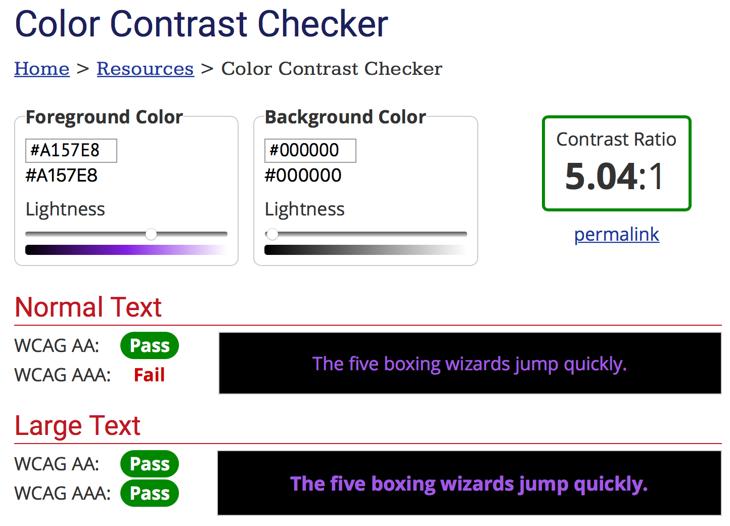 Screenshot of WebAIM.org's color contrast checker with black and purple values