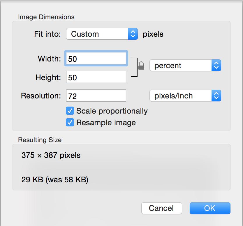 Adjust Size sheet