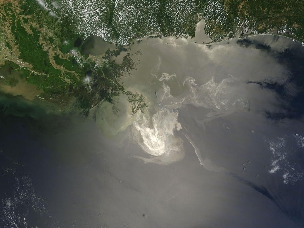 Deepwater Horizon oil slick, in a May 2010 NASA image