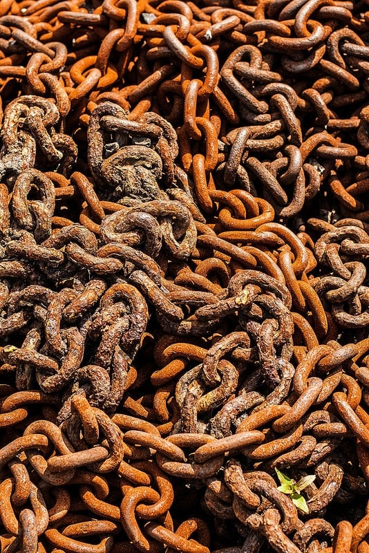 A big pile of rusty chain, at the Black Country Museum