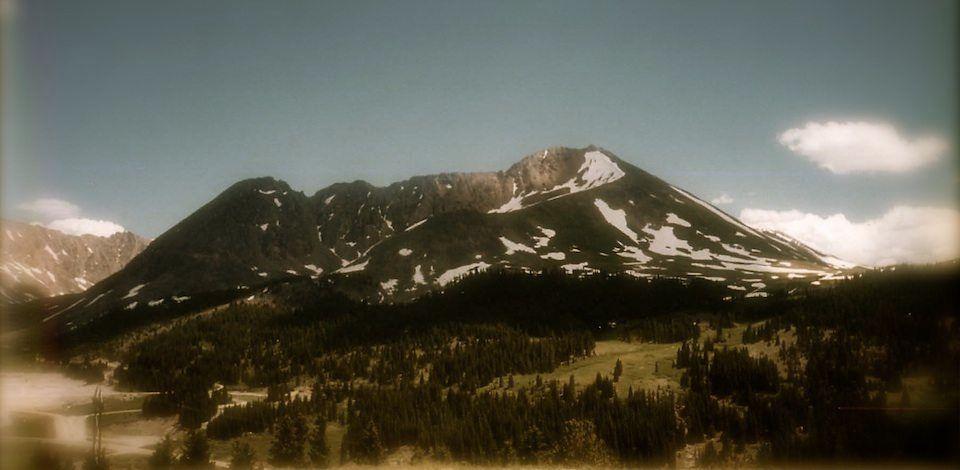 Antiqued color photo of Mt. Arkansas