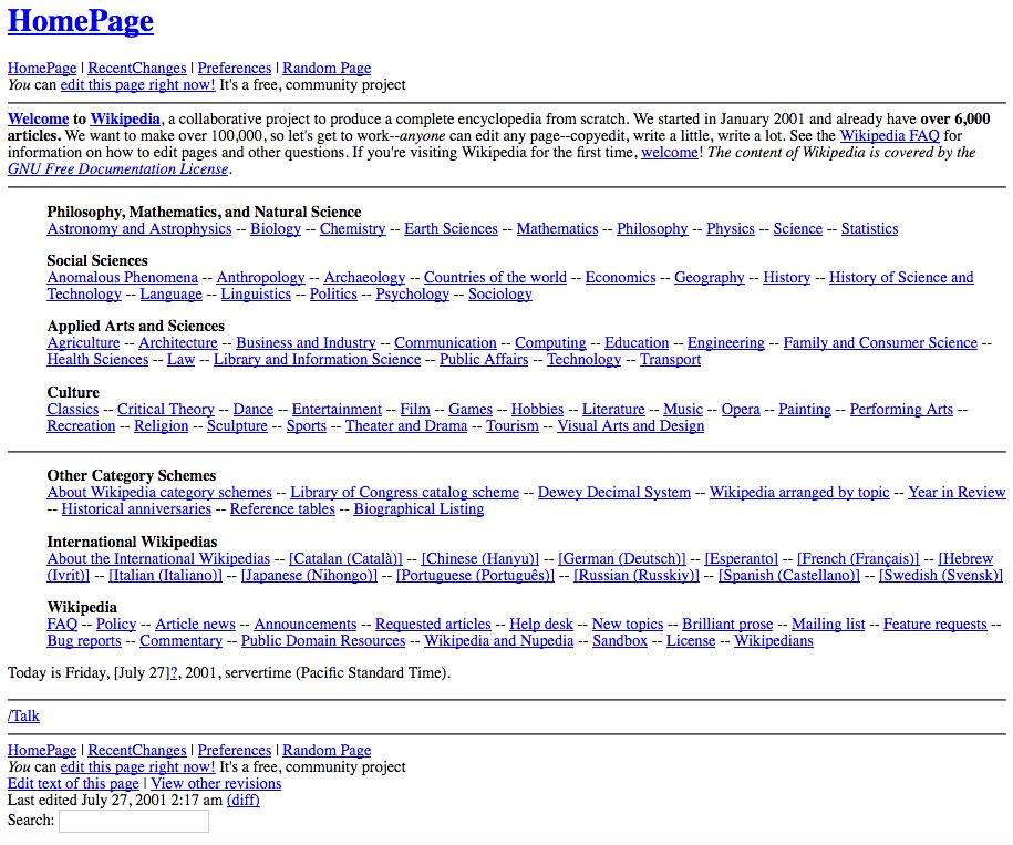 Wikipedia, 2001