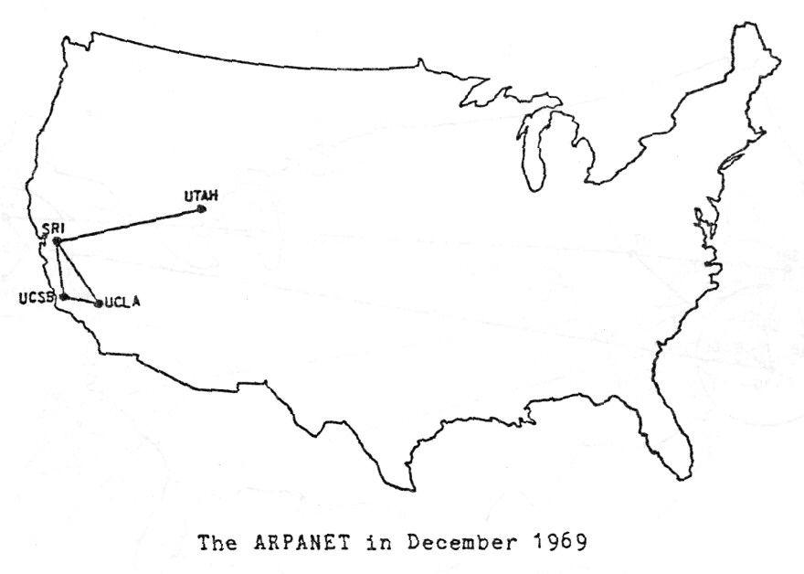 Die erste Ausbaustufe des ARPANET im Dezember 1969, ITU Pictures, flickr