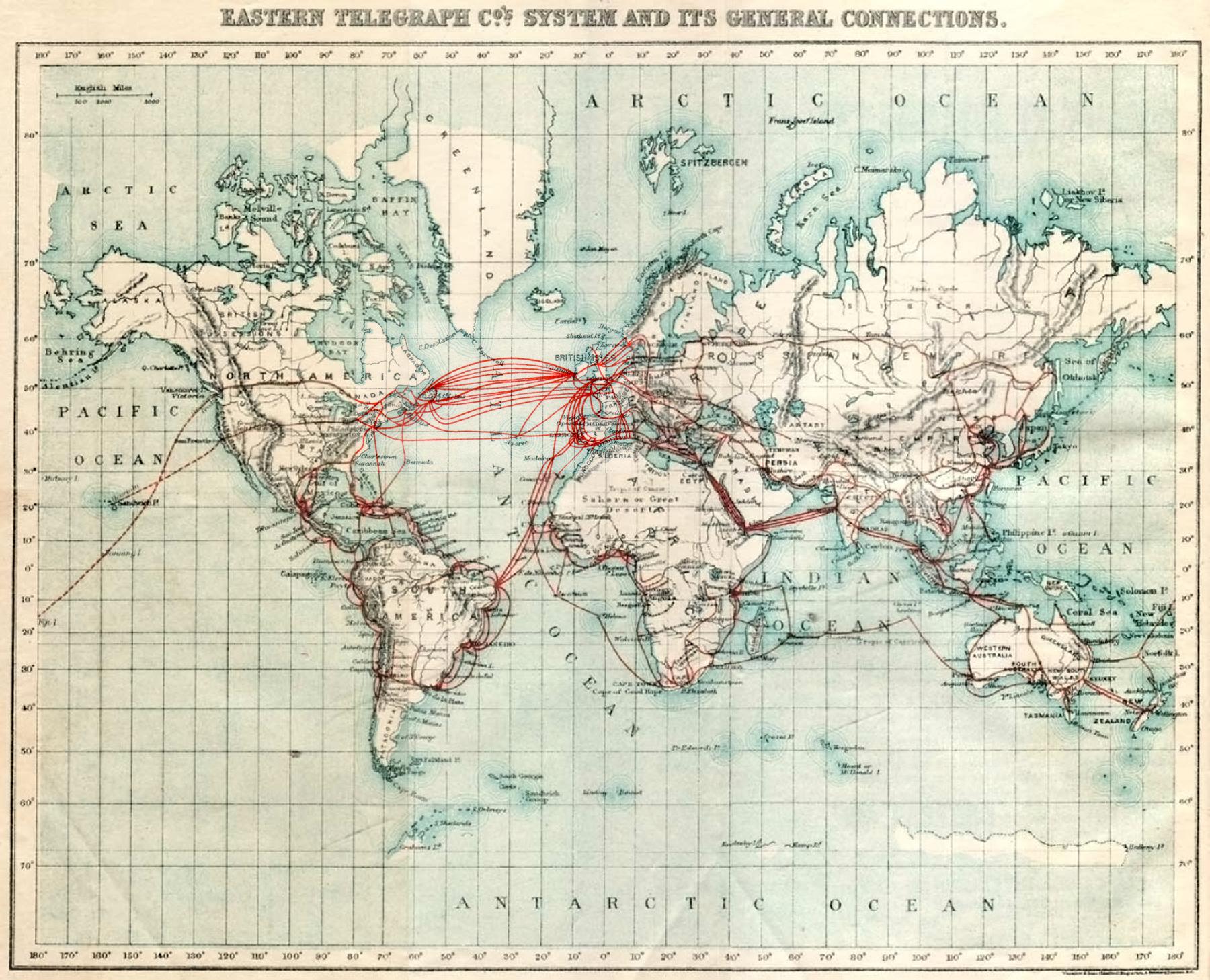 Abbildung 2: Das Eastern Telegraph Company Netzwerk im Jahr 1901. Merke: Neue Infrastrukturen folgen alten Infrastrukturen. Glasfaserkabel folgen Telefonleitungen, die Telegrafenleitungen folgen, die Eisenbahnen folgen.