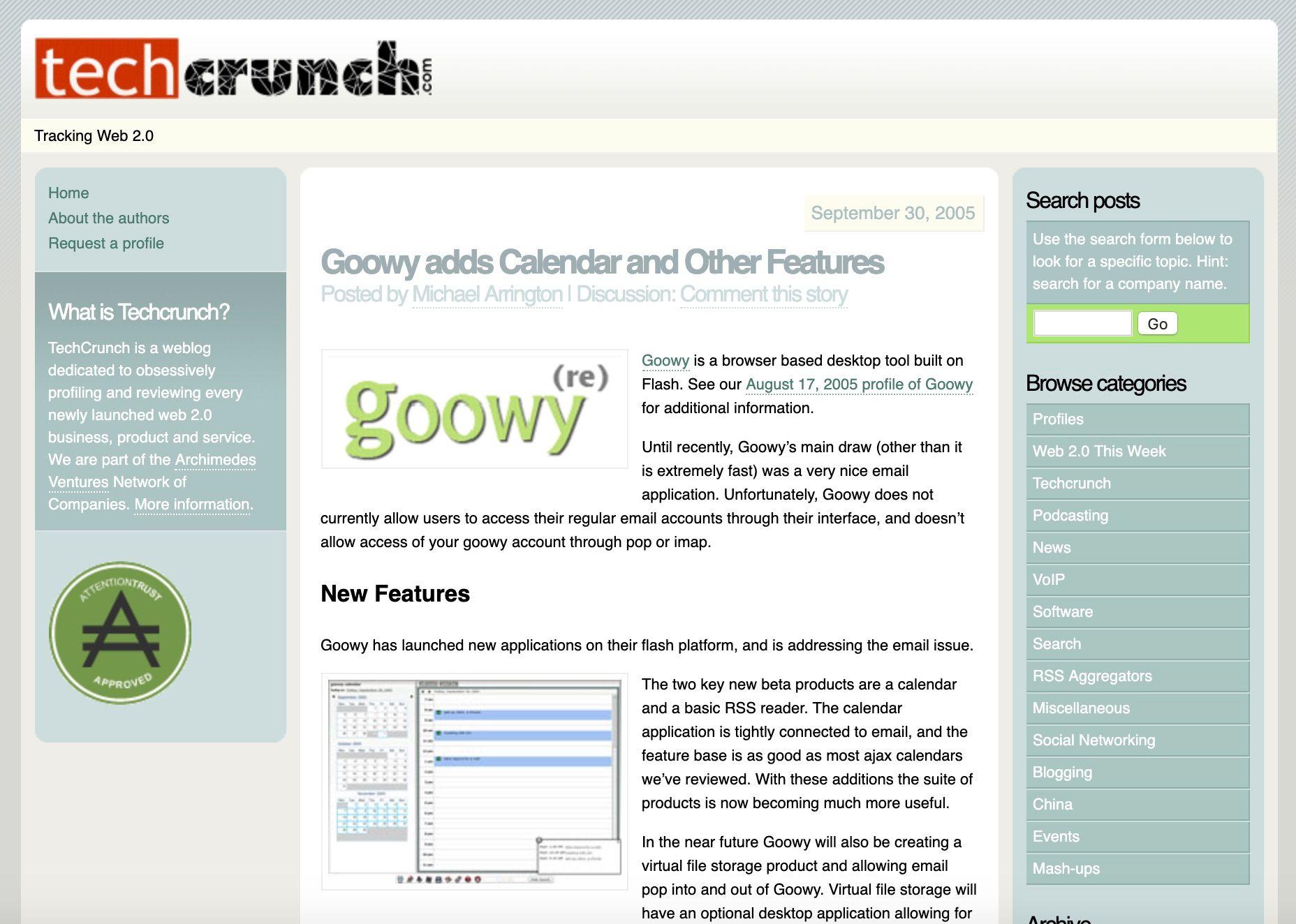 TechCrunch, 2005