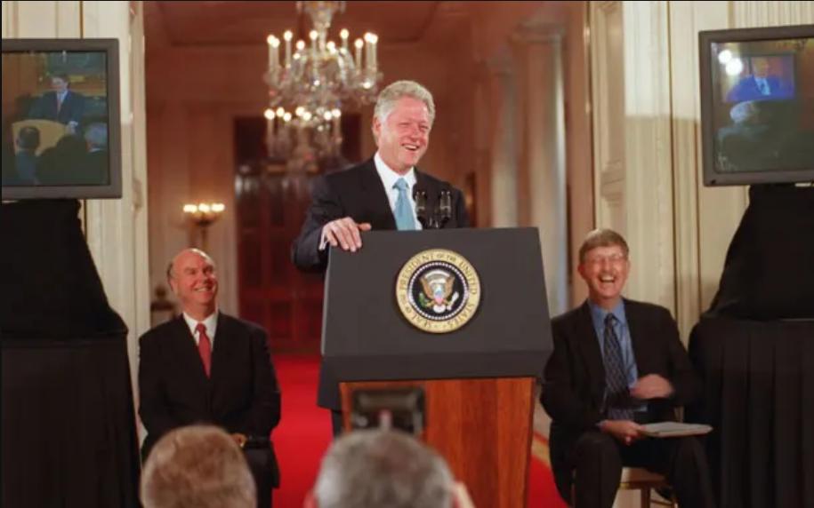 Präsident Clinton, Craig Venter und Francis Collins