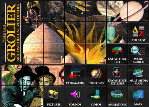 Screenshot einer digitalen Grolier Enzyklopädie von 1995, Internet Archive
