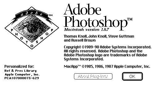 Photoshop 1.0.7, 1990