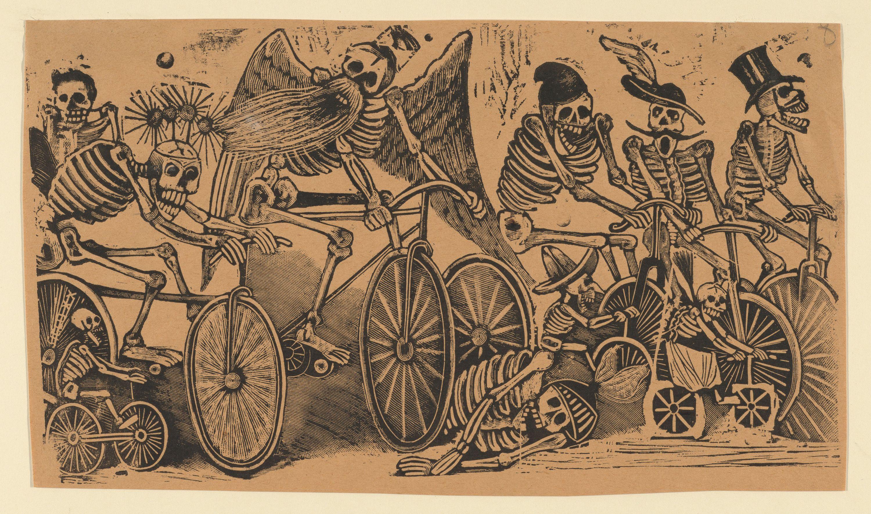 Skeletons (calaveras) riding bicycles, ca. 1900, José Guadalupe Posada