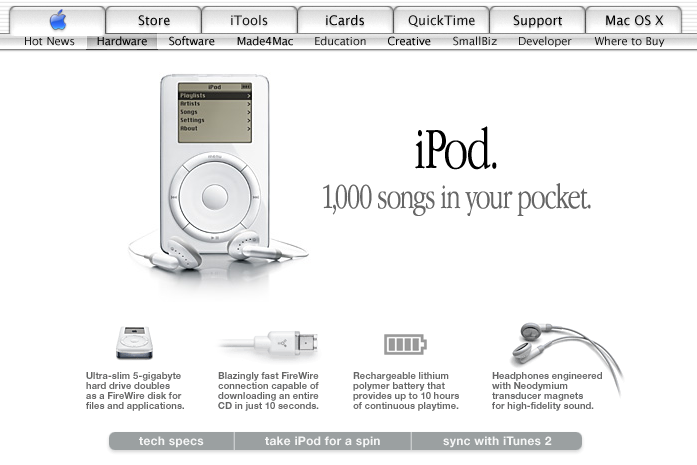 Apple Website 2001, archive.org