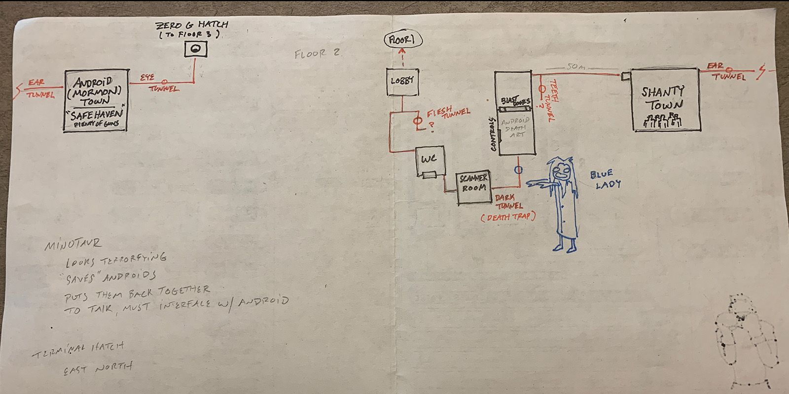 Alan's map of the second floor