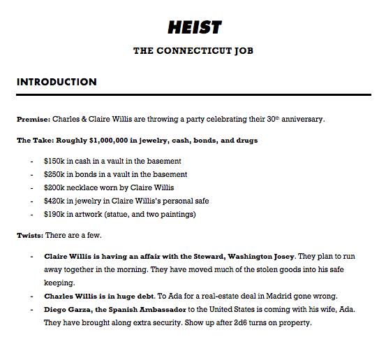 I try to keep my adventure write-ups for Heist down to two pages + maps, so I don't have to do a lot of flipping around.