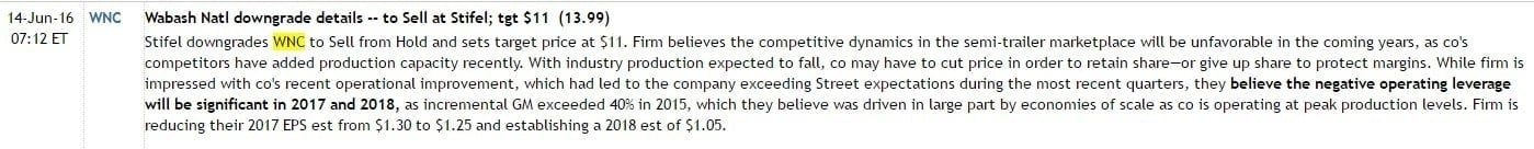 Stifel analyst comment on WNC, per Briefing.com