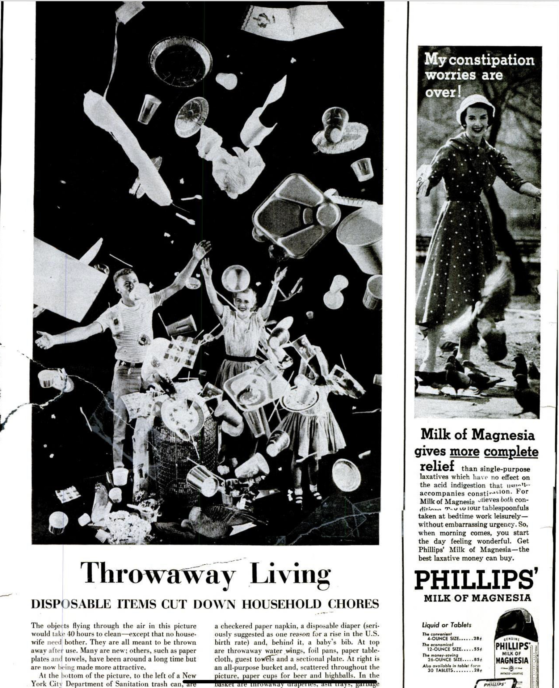 'Throwaway Living' advert from _Life_ magazine