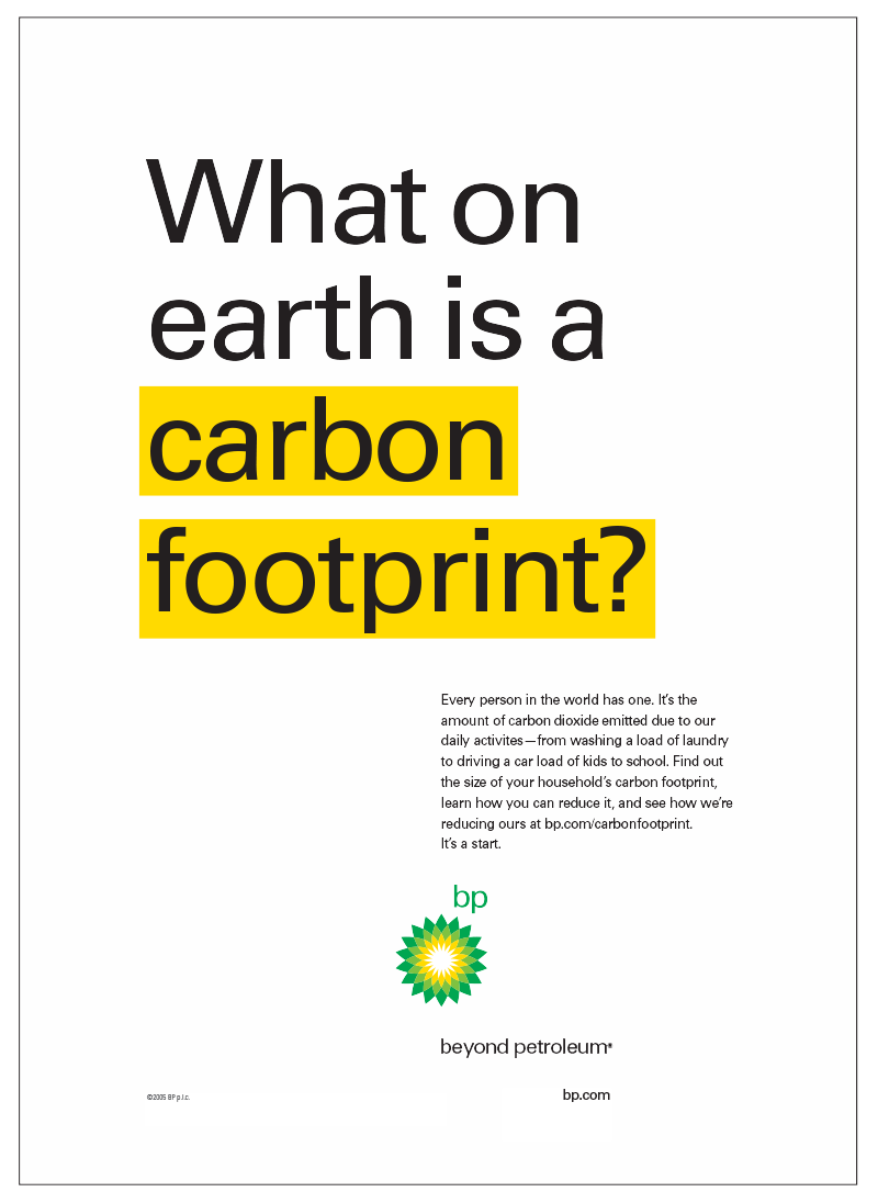 BP Carbon Footprint Campaign Poster