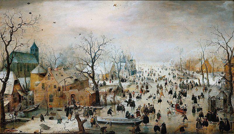 Winter landscape with ice skaters - Hendrick Avercamp