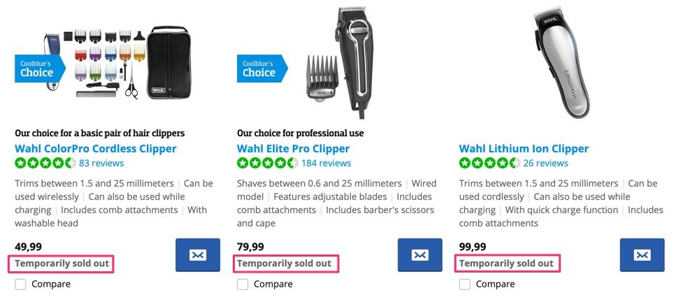 Hair clippers are sold out online
