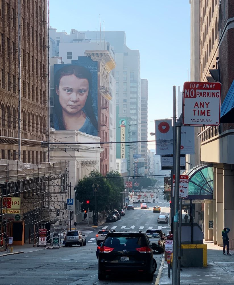 A portrait of Greta Thunberg in SF