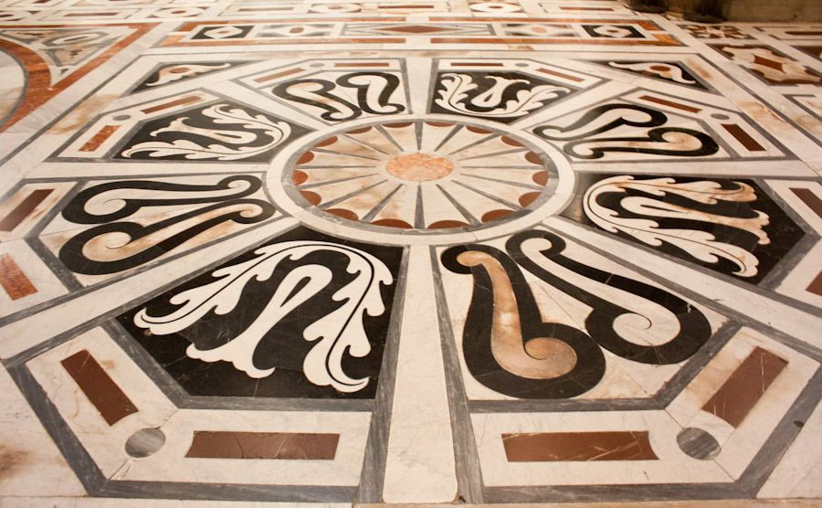 The marble floor inside