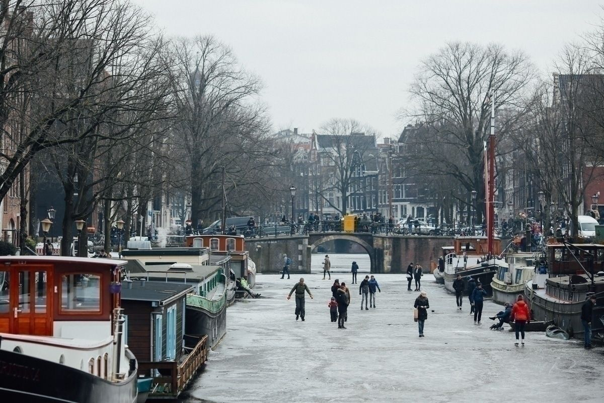 A frozen canal in Amsterdam