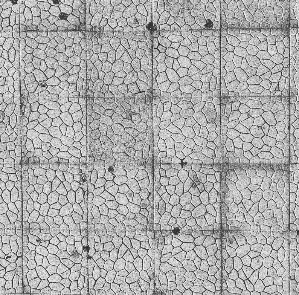 Voronoi tessellation engraved on concrete tiles