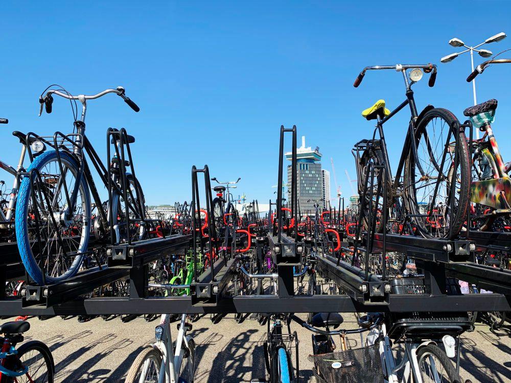 Empty bicycle racks