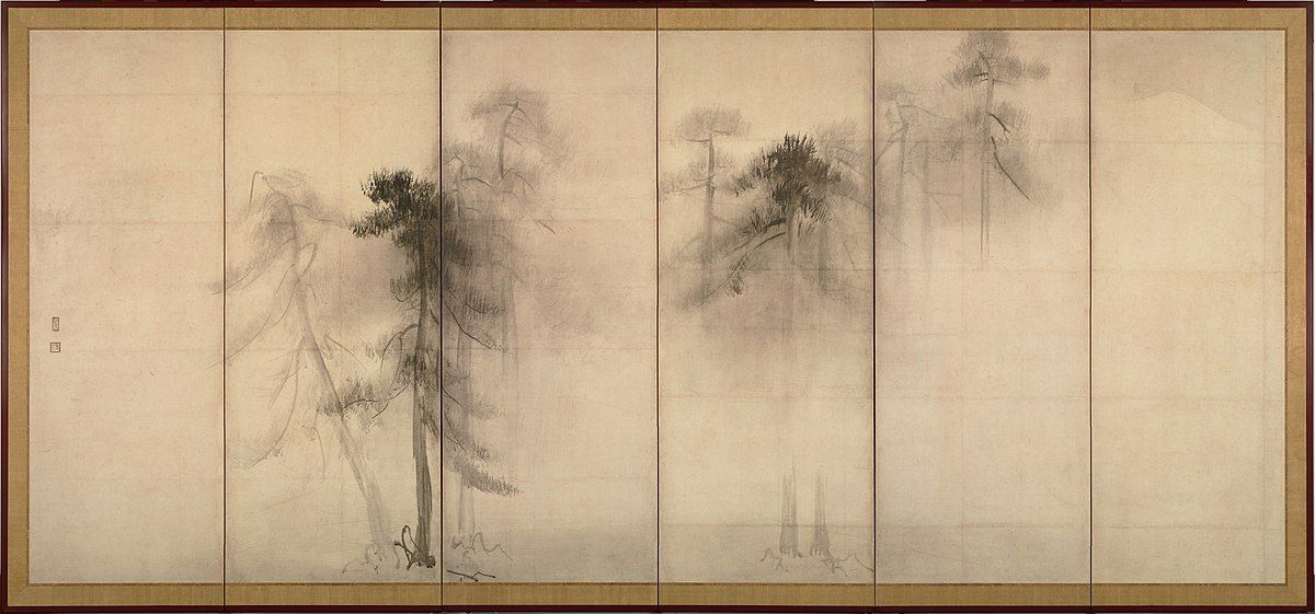 Shōrin-zu byōbu (The Pine Trees Screen) by Hasegawa Tōhaku. The empty space in this piece is considered to be as important as the trees depicted. Credits to Wikipedia.