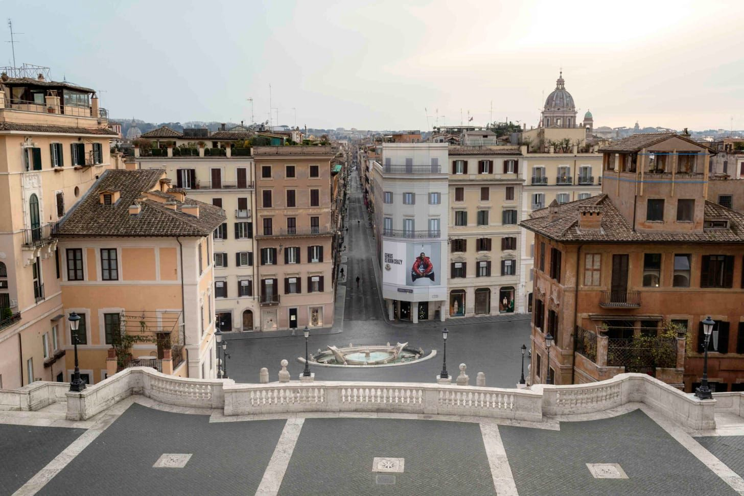 Rome, The view from the Spanish Steps.