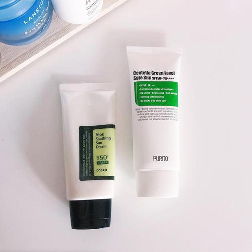 Cosrx Aloe Soothing Sun Cream vs.Purito Centella Green Level Safe Sun Review