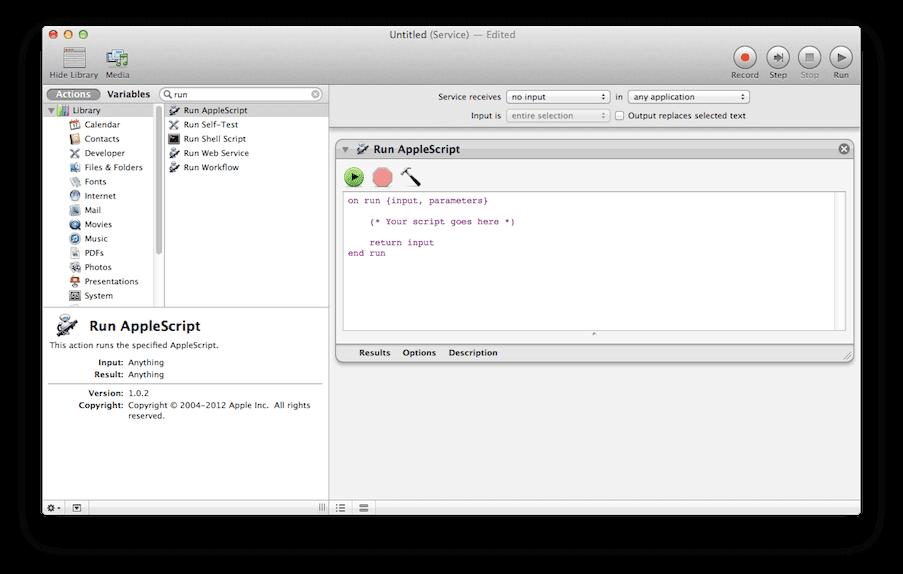 AppleScript step