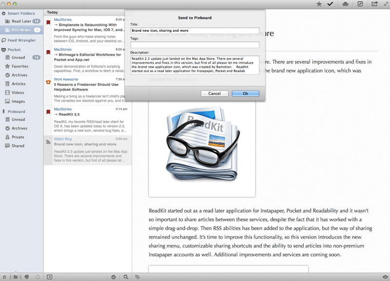 Simple Pinboard sharing with ReadKit
