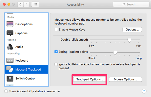 Trackpad Options