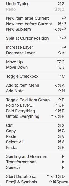 OutlineEdit Keyboard Commands