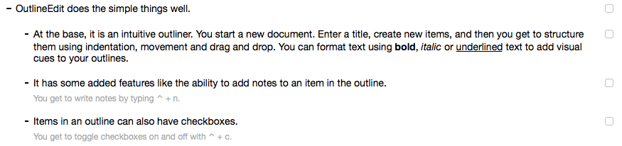 OutlineEdit Checkboxes
