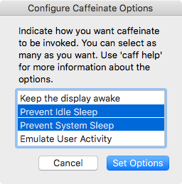 Caffeinate Control Configuration