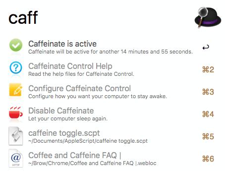 Caffeinate Control Status