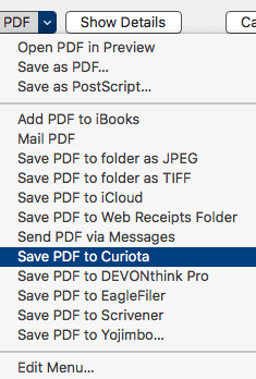 Save as PDF to Curiota