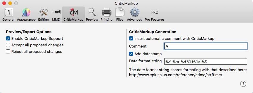 CriticMarkup Support