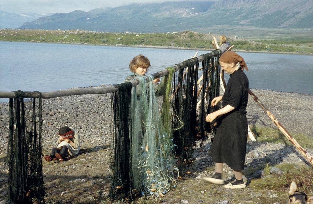 fishing nets at lake satisjaure
