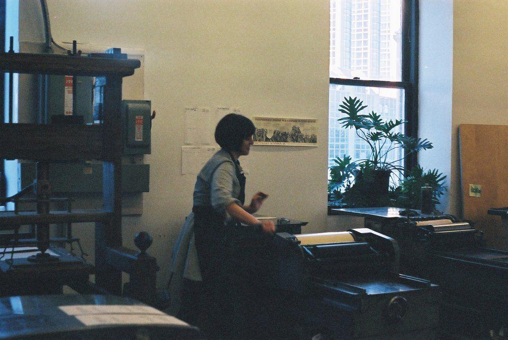 Katherine Printing in the Dawson Printshop