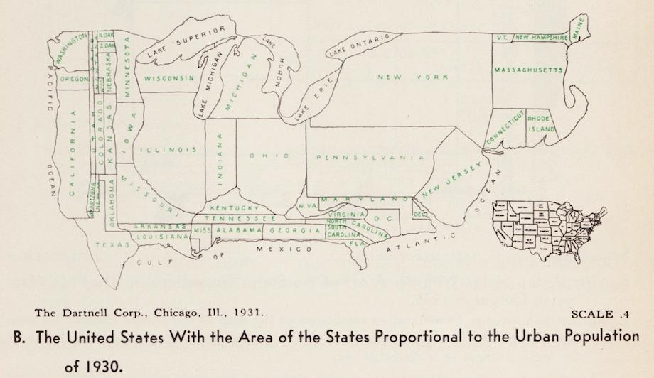 [map] [cartogram] Vintage infographics: Visualizations of American population distribution in 1930. (1)