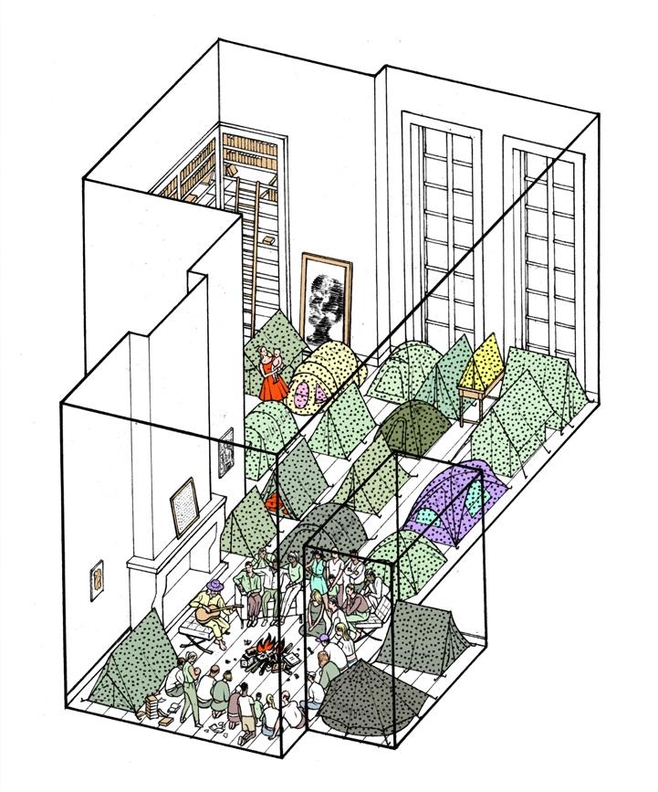 [illustration] [isometric] TheNewYorker-ApartmentCaper-TimEnthoven