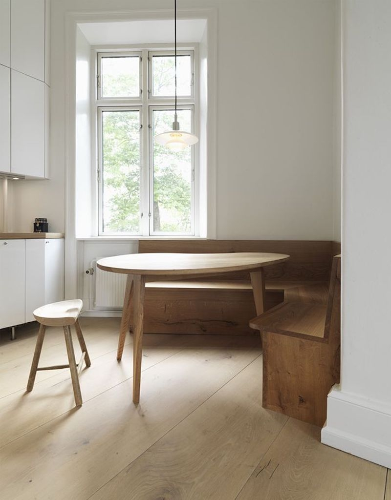 dinesen heart oak floor kitchen banquette