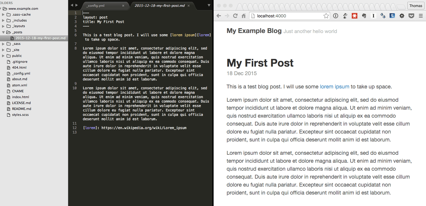 Code and browser previews side by side
