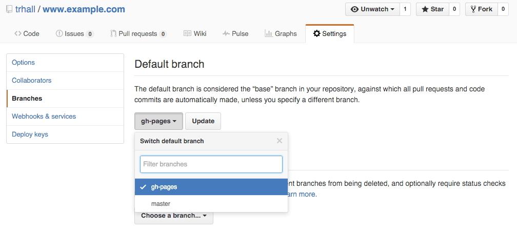 Set default branch