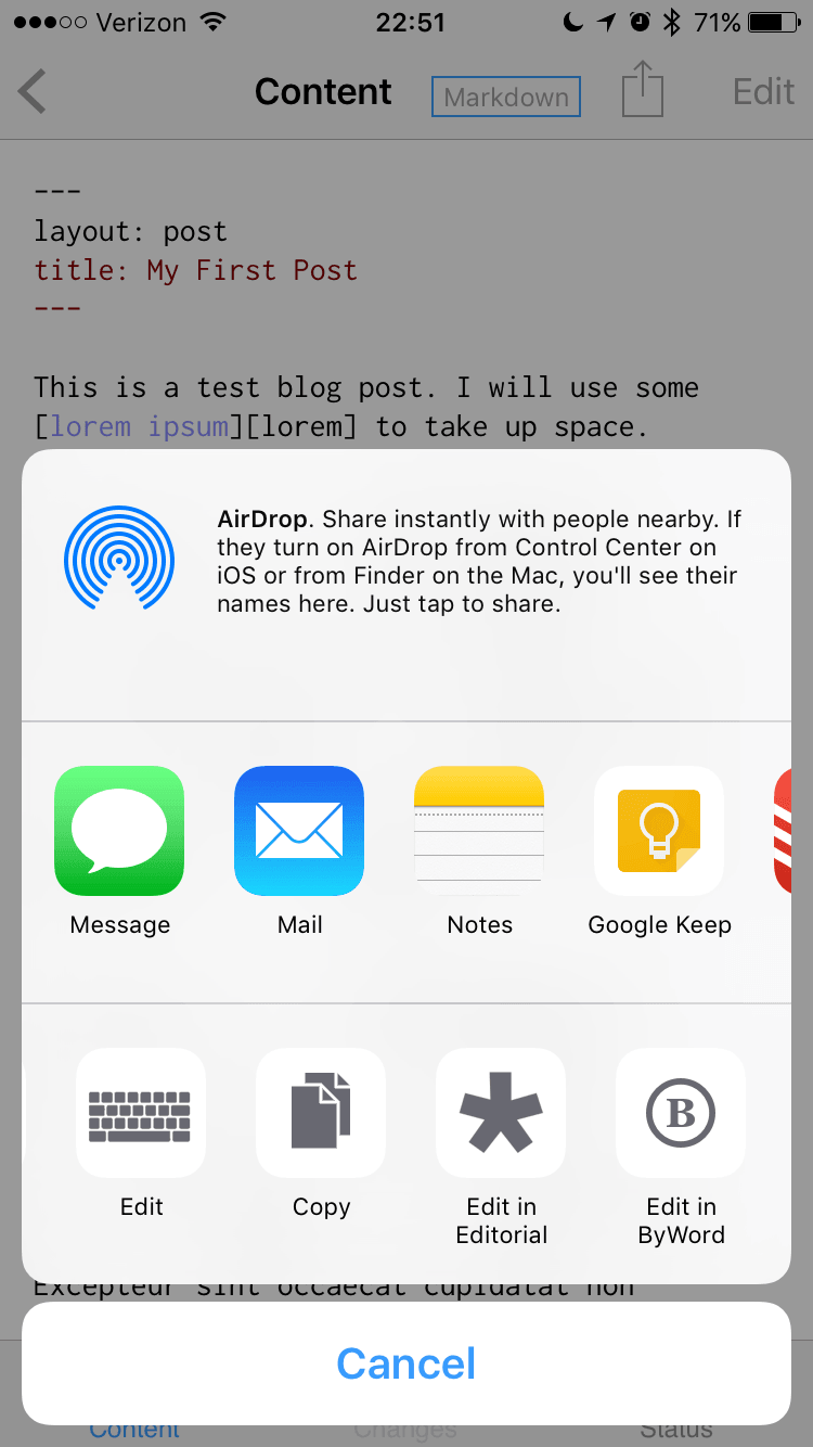 Working Copy on iOS