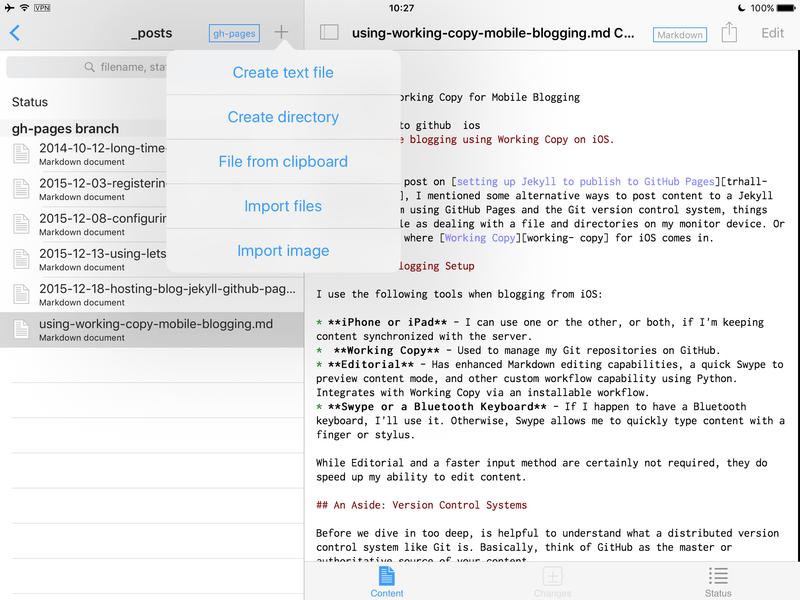 Working Copy Add item dialog