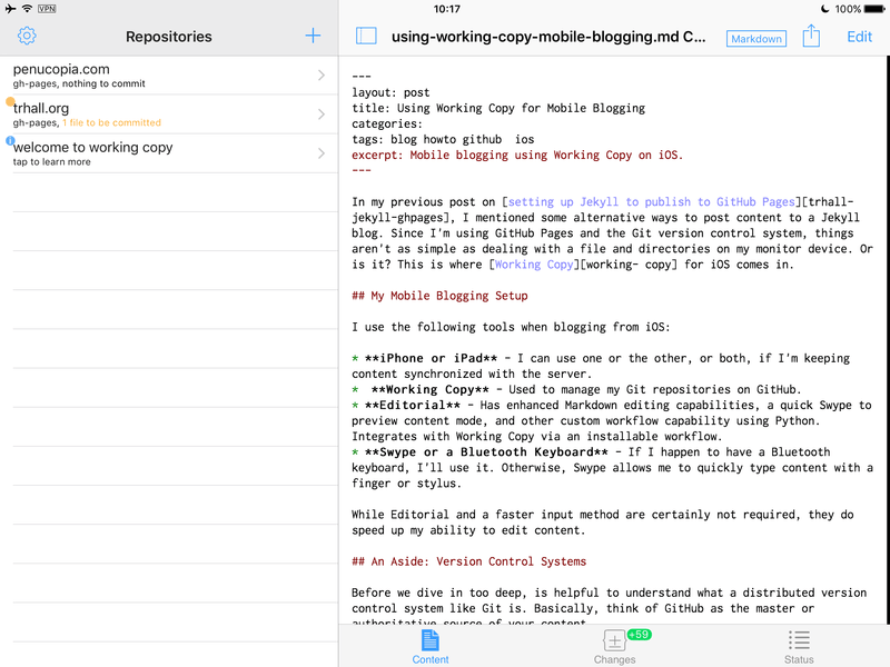 Working Copy changes pending upload