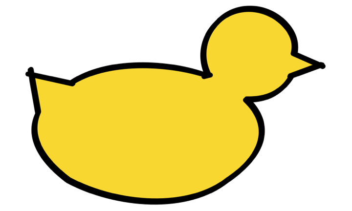 A line art yellow duck