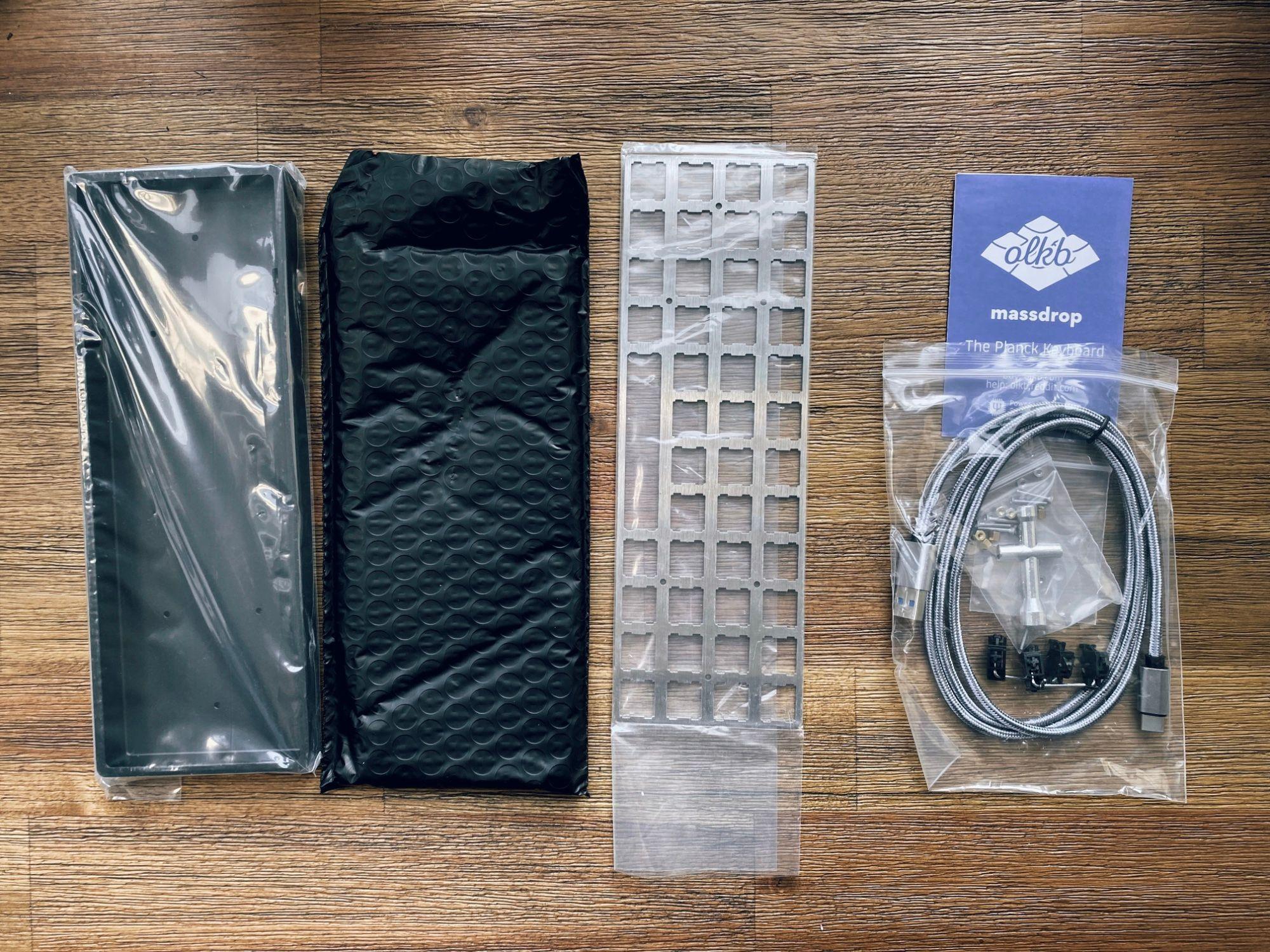 Drop + OLKB Planck Mechanical Keyboard Kit V6 contents